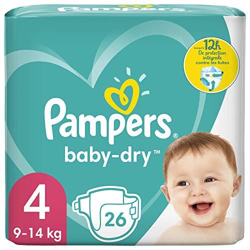 Pampers Baby Dry Größe 4 Windeln, bis zu 12 Stunden Schutz, 9-14kg, Weiß, 26 Stück