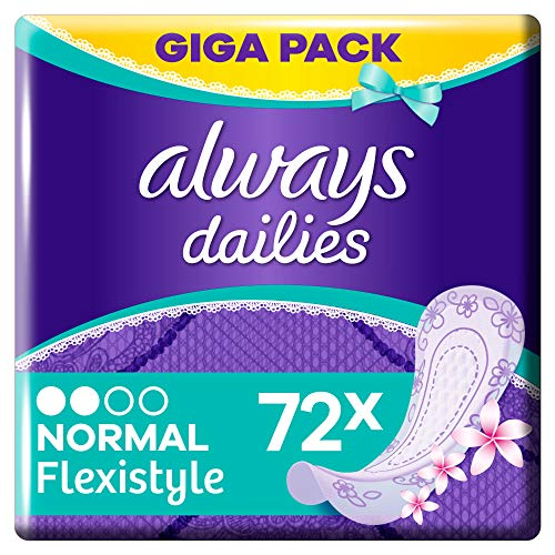 Always Dailies Flexistyle Normal Fresh Slipeinlagen Giga Pack (72 Stück) extra dünn und flexibel mit dezentem Duft für tägliche Frische, atmungsaktives Design für alle Slipformen
