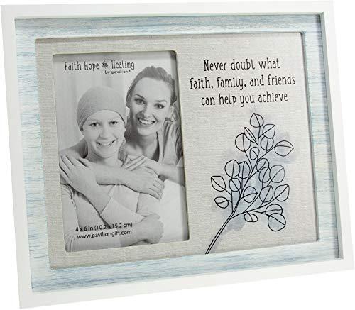 Pavilion Gift Company Never Doubt What Faith Family and Friends Can Help You Achieve-4x6 Marco de fotos vertical marrón y azul, azul