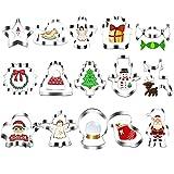 LUTER15 Piezas Juego CortadoresGalletas Navideñas Cada Dulces Calcetines Navideños MuñecoNieveCampana Árbol Navidad para Hornear en Familia en Navidad