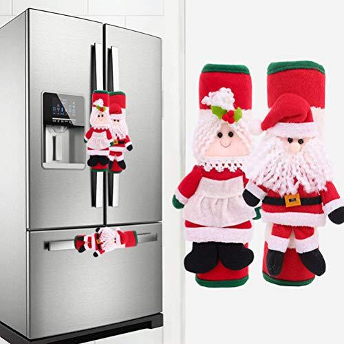 Pywee - 2 fundas para tiradores de puerta de nevera con dibujos animados para cocina, microondas, horno, decoración navideña