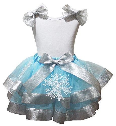 Petitebelle NB-8y - Disfraz de Copo de Nieve para cumpleaños, Camisa Blanca, Falda de pétalos Azules