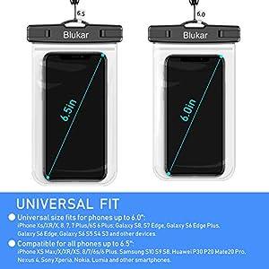 Funda Impermeable Móvil [6.5 inch*1+6 inch*2], Blukar 3 Unidades IPX8 Bolsa Impermeable Móvil Teléfono Universal Funda Sumergible Móvil para iPhone XS MAX/XS/8 Plus, Huawei, Galaxy S10/S9, Sony etc.
