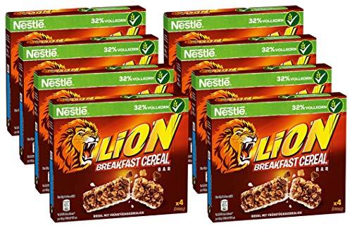 Nestlé Cerealien LION Breakfast Cereal Bar, knuspriger Frühstücksriegel mit Karamell & Milchschokolade, 8er Pack (8 x (4 x 25g))