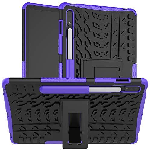 Mangas de la bolsa de la caja de la PC de la table Cubierta de tableta para Samsung Galaxy Tab S7 SM-T870 / T875 / T878 11 pulgadas 2020 Textura de neumáticos TPU + PC Funda protectora con soporte de