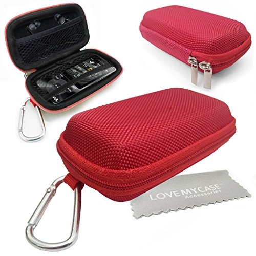 GUPi LOVE MY CASE/DURABLE Red MP3 Player Case, Hard Clamshell Case, Earphone Case, Holder with Carabiner Clip for Sony Walkman NWZ-E380 Video MP3 Player with Love My Case Cleaning Cloth