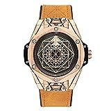 HHBB Reloj de lujo 3d marrón reloj de los hombres reloj mecánico automático plata oro rosa correa de cuero