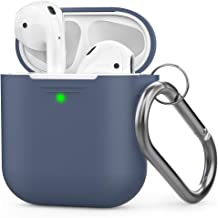 AhaStyle AirPods Case Silicone [Front LED Visible] Compatible with Apple AirPods 2 (2019) and AirPods 1(with Carabiner, Navy Blue)