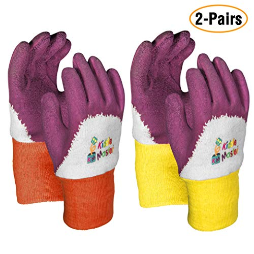 Kids Gardening Gloves by KIDDIE MASTER: 2-Pairs Children's Gardening Gloves Set (2-6 Years) for Home/School Gardening| Breathable Cotton Gripping Gloves for Yard/Lawn Work| Top Kids Learning tool Gift