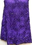 Nuevos diseños de tela de encaje francés africano de alta calidad de encaje francés neto nigeriano 2020 con piedra y cuentas para mujer HLL4584 púrpura, como imágenes 6