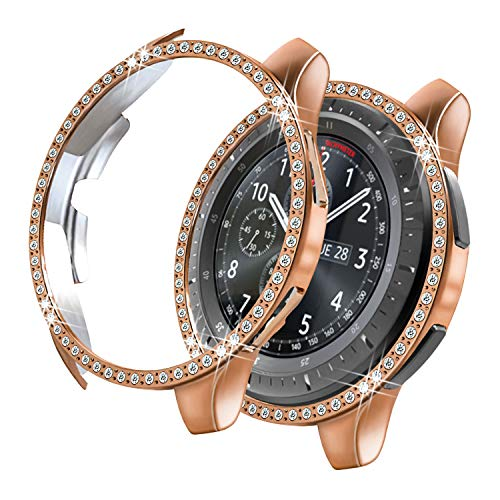 Yolovie Compatible with Samsung Galaxy Watch 42mm Case, Bling Crystal Rhinestone Bumper Shell Plated PC Protective Face Cover Shiny Diamond Cases Women Girl (42mm Rose Gold)