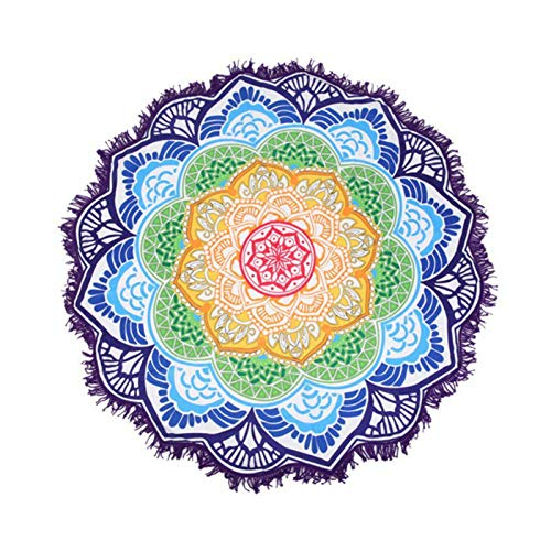 Vioyo Mandala Ronde tapijt, picknickkleed, strandkleed, sjaal met franjes, yogamat, huishoudtextiel