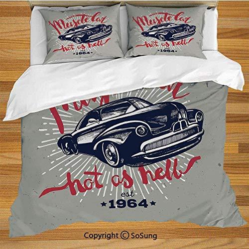 Cars Juego de funda nórdica para ropa de cama, Hot as Hell Muscle Car Quote Classic Vintage Sports Car en azul marino Juego de cama decorativo de 3 piezas Tamaño doble con 2 fundas de almohada, Azul m