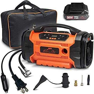 RoofPax Air Compressor for Car Tires - Tire Inflator with 3 Power Sources, AC DC and Battery, Heavy Duty Portable Design, Auto Electric Air Pump with Pressure Gauge for Cars, Bike Tires, Inflatables