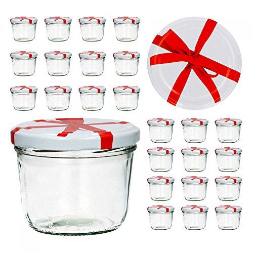 CapCro 25er Set Sturzglas 230 ml to 82 weißer Deckel mit Schleifendekor Marmeladenglas Einmachglas Einweckglas