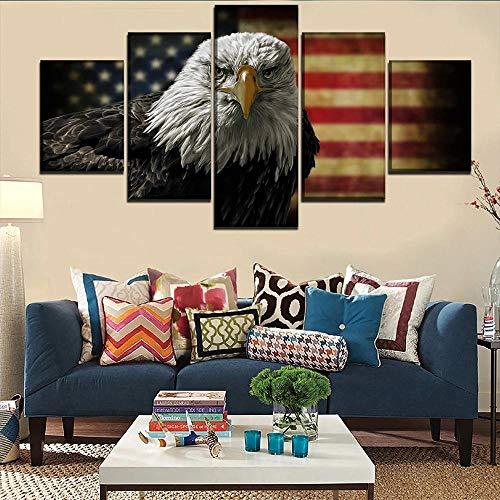 BHJIO Impresiones En Lienzo 5 Piezas Bandera Y Águila Poster HD En Lienzo Modular Modern Interior Decorations Wall Art Tamaño Regalo 150 * 80Cm.