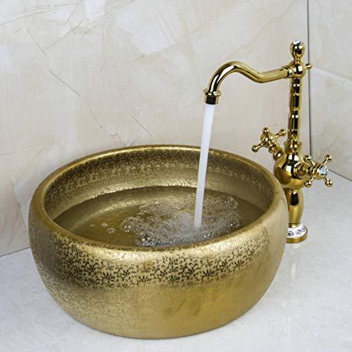 Hiwenr dubbele greep waterkraan ronde kleur gouden vaas wastafel wastafel wastafel keramische wastafel wastafel & waterkraan set