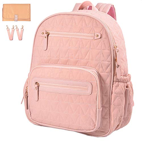 Diaper Bag Backpack, Travel Diaper Backpack with Charging Port, Diaper Bag with Stroller Hanger,Thermal Pockets,Handbag,Changing Pad, Grils.Fabric Large Best Gif (pink)