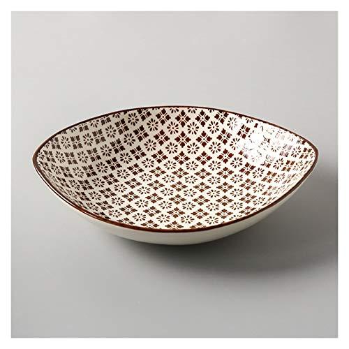 Fengshop Plato de cena de estilo japonés Plato de cerámica para el hogar, personalidad creativa, plato cuadrado de 20 cm de profundidad, plato de arroz y postre (color: B)