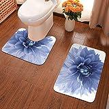 Lindsay Gosse Tapis de Toilette et Tapis de Bain - 2 pièces Fleur de Dahlia Tapis Antidérapant Doux Absorbant Epais pour la Salle de Bain/WC,Lavable en Machine