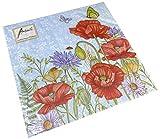 Tovaglioli di carta, per feste, circa 33 x 33 cm, per ogni occasione, motivo floreale, blu