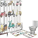Juego de cortinas baño Accesorios baño alfombras Garabatear Alfombrilla baño Alfombra contorno Cubierta del inodoro Una variedad de scooters en diseño lindo y agradable Ruedas para andar en bicicleta