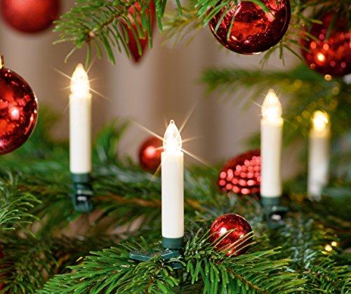 20-er LED Weihnachtskerzen Set Elfenbein/Creme inkl. Batterien, Dimmbar, Flackermodus, Timer, GS geprüft - kabellose Weihnachtsbaumbeleuchtung für Innen- und geschützten Außenbereich