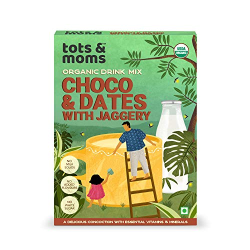 Tots & Moms Foods Choco Dates Health Drink Mix | No Junk added Chocolate drink for Kids - Sweetness from Dates & Jaggery Powders includes Dry Fruits - 200g