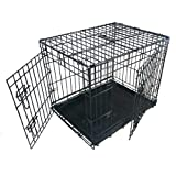 Ellie-Bo Dog Puppy Cage Medium 30 inch Black Folding 2 Door Cage with Non-Chew Metal Tray