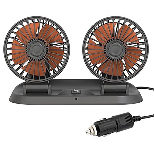 Ventilador de automóviles de Doble Cabezas, 360 Rotación de Ajuste Libre Ajuste del automóvil Potente silencioso 2 Velocidad Auto refrigeración Air 24V Ventilación Dashboard Electric Car Fans