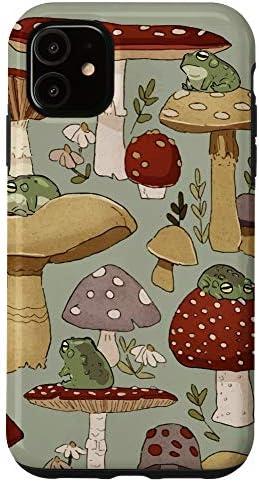 iPhone 11 Cute Cottagecore Frog and Mushroom Vintage Case product image