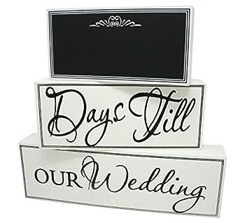 Rubies & Ribbons Wedding Countdown Calendar Chalkboard Sign 3-Piece Set