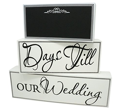 Rubies & Ribbons Wedding Countdown Calendar Chalkboard Sign 3-Piece Set
