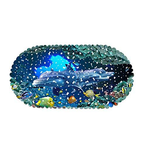 Nonslip Bathtub Mat for Kids, Bath Shower Mat Non Slip for Bathroom, Washable 3D Dolphin Sea World, Ideal for Kids Toddler Senior, 14x27.5 inch(35x70cm), Blue