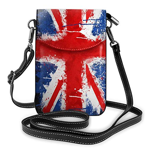 Risating Mobile Phone Shoulder Bag - British Flag Cell Phone Handbags with Adjustable Strap PU Leather for Women Girls