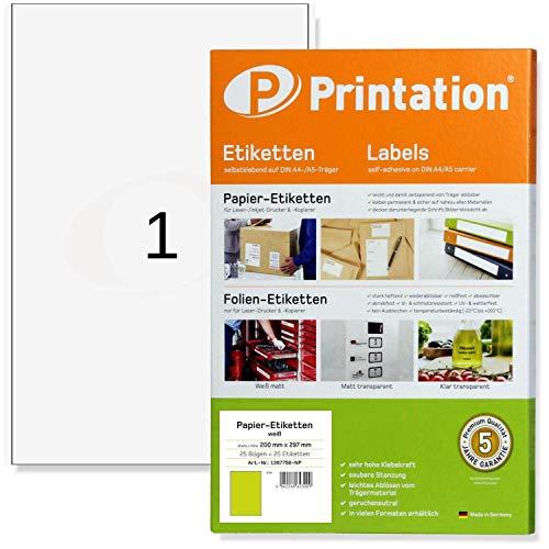 Universal Etiketten 25 Stück 200 x 297 mm (DIN A4) selbstklebend weiß bedruckbar - 25 A4 Bogen à 1x1 200x297 Aufkleber/Sticker - 4458 3418 3478.