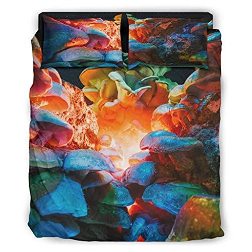 Wandlovers Juego de ropa de cama de 4 piezas con estampado de setas, ultrasuave, funda nórdica y fundas de almohada, color blanco, 203 x 230 cm