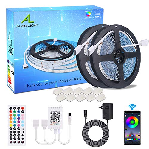 Tira de LED Bluetooth 10m(2x 5m), ALED LIGHT 5050 SMD 300 LED RGB Tira LED con Mando a Distancia de 44 Teclas, Fuente de Alimentación de 12V Luce