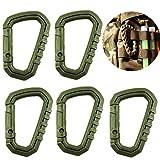 TIANOR 5 piezas Llavero Gancho Mosquetón de Plástico Forma D para Pesca Excursiones Táctico Mochila para colgar Verde