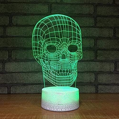 Lámpara con cable USB, diseño de cráneo, regalo de cumpleaños LED, lámpara de escritorio de 16 colores, cable USB 3D, control táctil
