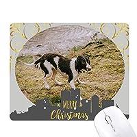 犬動物画像ブラックホワイト クリスマスイブのゴムマウスパッド