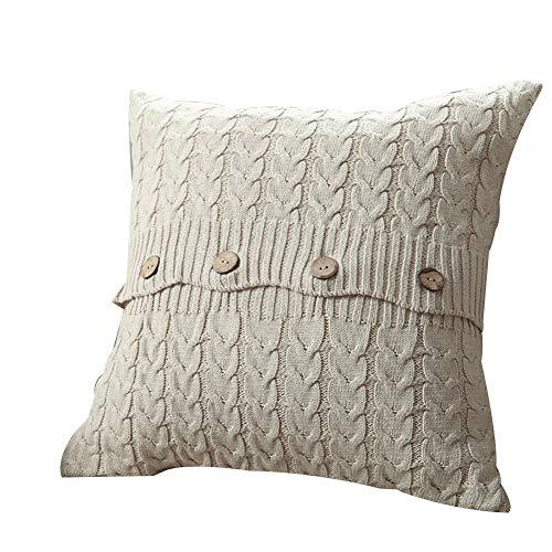 Pu Ran- Soft Square Cable Knit Pillow Case Sofa Waist Throw Cushion Cover Home Sofa Decor - Beige