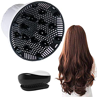 Hair Diffuser, Universal Hair Diffuser Attachment, Hair Dryer Diffuser Suitable for 1.4-inch to 2.6-inch Blow Dry, Professional Salon Tool for Fine Thick Curly Frizzy and Wavy Hair