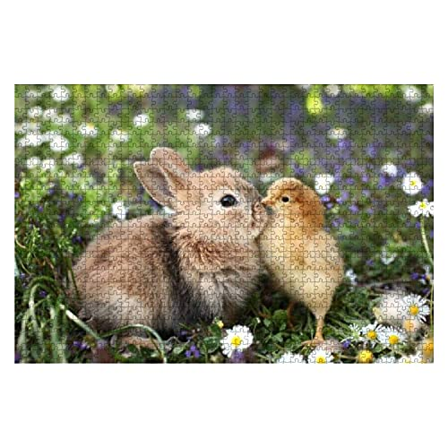 1000 elementów Best Friends Bunny Rabbit and Chick Kissing Large Piece Jigsaw Puzzle for Adults Edukacyjna zabawka dla dzieci Creative Games Entertainment Wooden Puzzles Home Decor