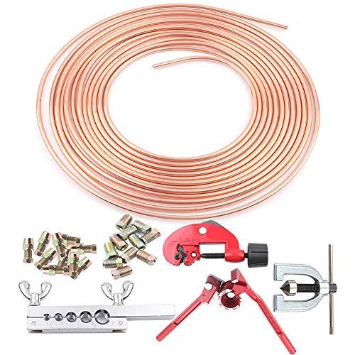 Auto Bremsleitungs Kit,Reparatursatz für Bremsleitungen Enthalten Bremsleitung,Rohrschneidemaschine,12 x Verbindung, Rohrbiegemaschine,7 x Bördelwerkzeug
