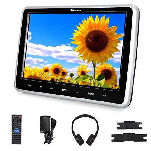 NAVISKAUTO Lecteur DVD Voiture Ecran d'appui tête avec Cable AV et Ecouteur pour Enfant 10,1 Pouce Compatible avec MKV/MP4,Supporte HDMI Input Région Libre USB SD