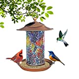 FURANDE Solar Bird Feeder, Bird Feeders Squirrel Proof for Outside, Waterproof Solar Powered Hanging Bird Feeder Bird House with Colorful Glass Mosaic with Hook As Gift for Bird Lovers Garden Decor
