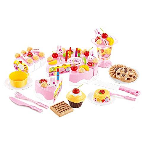 75 pièces de coupe de gâteau Pretend Play Set alimentaire pour les enfants,Rose