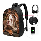 WEQDUJG Mochila Portatil 17 Pulgadas Mochila Hombre Mujer con Puerto USB, Cachorro Bulldog Americano Mochila para El Laptop para Ordenador del Trabajo Viaje