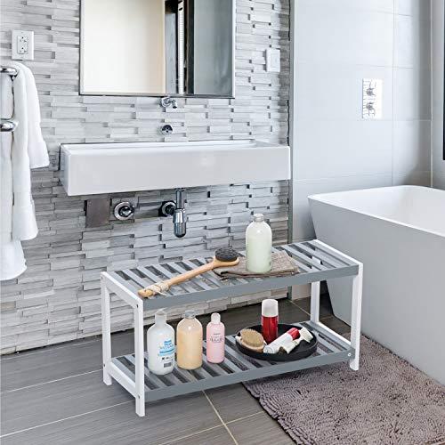 Vencier 2 Tier Bamboo Shoe Rack Stand Shelf Shelving Hallway,Bedroom,Bathroom,Living Room Organizer Holder Storage for 8 pairs shoes (Grey & White)